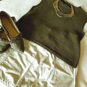Chaus - Olive green ribbon-knitted sweater